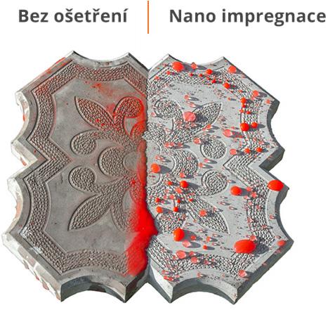 impregnace dlažby - impregnovaná dlažba zůstává suchá, voda na povchu tvoří kuličky