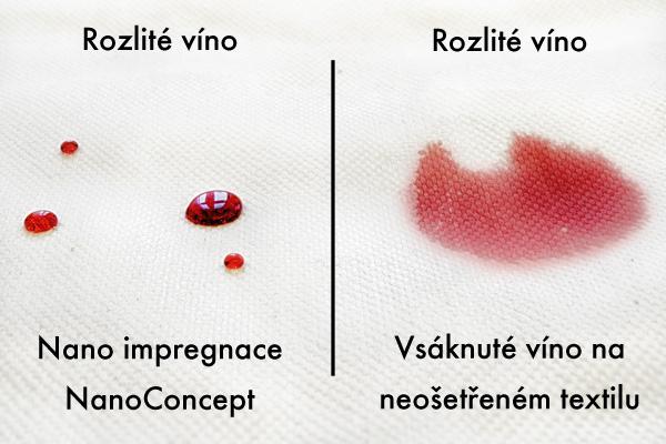 srovnání ukazuje impregnovaný textil vs. neimpregnovaný